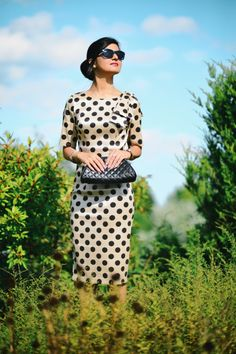Vintage Inspiration - Taffeta Polka Dot Dress-004