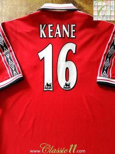 e7ffe03e32d 1998 99 Man Utd Home Premier League Football Shirt Keane  16 (XL). Vintage  JerseysManchester United FootballClassic ManFootball ShirtsPremier ...