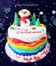 a colorful christmas  Cake by annacupcakes