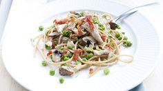 Spaghetti con fuldkorn e funghi