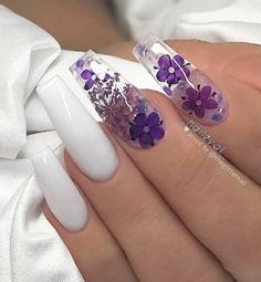 Chic Natural Gel Nails Design Ideas For Coffin Nails - white Gel coffin nails long, natural gel nails design, gel nai Purple Acrylic Nails, Best Acrylic Nails, Summer Acrylic Nails, Purple Nails, Summer Nails, Acrylic Nail Designs For Summer, Purple Nail Designs, Blue Nail, Red Nail