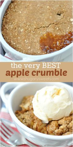 Easy recipe for Apple Crumble...top it with ice cream and it's #comfortfood dessert! ~ Shugary Sweets