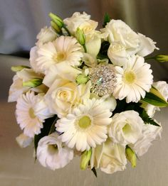White Bridal Bouquet With Bling In Springfield Ohio Schneider S Florist