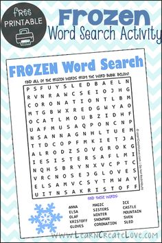 Frozen Word Search Printable | LearnCreateLove.com