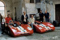 Bernard Cahier photo of Scuderia Filipinetti drivers, Targa Florio 1971. Jo Bonnier on left, posing like the rock star he was...