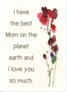 Watercolor art print with love mom Quote and Red by TheClayPlay, $15.00