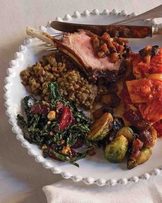 Umbrian lentils are well-suited to absorb the earthy and salty flavors of this dish. Any type of small dried lentil can be substituted. Lunch Recipes, Salad Recipes, Dinner Recipes, Whole30 Recipes, Flan, Christmas Dinner Menu, Christmas Foods, Martha Stewart Recipes, Sprouts With Bacon