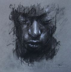 "red-lipstick: ""Guy Denning (b. 1965, Bristol, UK) - Dreaming Of Someone Else's Death-Mask, 2011 Drawings: Conte, Chalk on Paper """