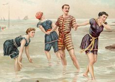 An illustration depicting a man and three women in old-fashioned swimwear cavorting in the surf at the beach, c. 1880s.