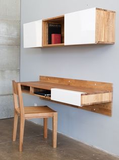 Perfect for small spaces, the LAX series Wall Mounted Desk attaches to the wall and makes legs seem like pointless obtrusions. Convenient cubbies underneath do away with drawers, allowing for quick stowing and access.