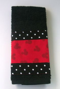 Bathroom Hand Towel-Mickey Mouse w' Polka Dots-Red' Black. $10.00, via Etsy.