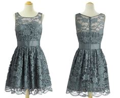 Smoke Grey Lace Bateau Neck Short 1960s Bridesmaid Dress, Vintage lllusion High Neck Knee Length Prom Gown  MD294 on Etsy, $158.00