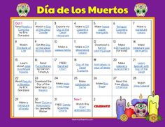 Day of the Dead Activity Calendar
