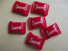 Red White Sweet Candy Cabochon Beads Without Holes  by 123Betwixt, $1.75