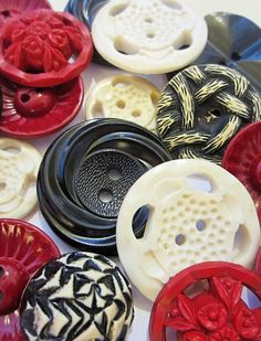 Vintage Red, Black and White Buttons  via Tracey Eggers