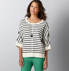 Loft-striped poncho sweater w/ lush green skinny pants :)