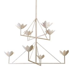 "Graceful blossoms sprout from a minimalist frame on Paul Ferrante's Marina chandelier. Shown in plaster-white, the 50"" h. x 54"" dia. iron fixture is also available in old-iron and faux-pewter finishes and additional sizes; to the trade. paulferrante.com, 212-355-7285"