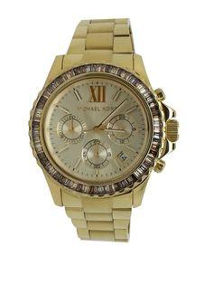 New Michael Kors watch MK5849 Everest gold tone with beige baguettes #MichaelKors
