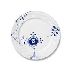 """1 Royal Copenhagen Blue Fluted Mega 10.75"""" Dinner Plate with Small Flower and Leaves Motif"""