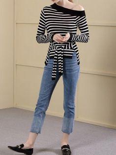 40b05b440cc Black Contrast Stripe Asymmetric Neck Long Sleeve Women Sweater