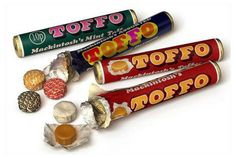 Mackintosh's Toffo. Toffos were chewy toffee sweets that came in several versions. A standard toffee flavoured version, assorted mixed flavours and a mint one. The mixed pack contained banana, chocolate, strawberry and toffee.