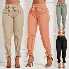 Women's High Waist Long Pants Casual With Sash Bow Pencil Pants For Female Ruffle Bow Tie Solid Work Tie Bottom Trousers Trouser Pants, Trousers Women, Pants For Women, Clothes For Women, Fashion Pants, Fashion Outfits, Fashion Ideas, Vetement Fashion, Loose Pants