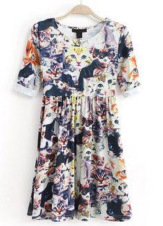 <3 Blue Half Sleeve Floral Cat Print Pleated Dress