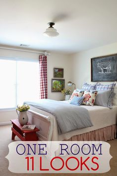 Savvy Southern Style: One Room Eleven Looks--blogger shows various changes in a guest bedroom over a few years--same bedroom configurations with updates or changes to bedding & accessories