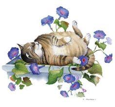 Tabby Cat Sleeping in the Morning Glory. Cat Shirt, Ladies T Shirt, Small - Cat Garden, Sleepy Cat, Cat Sleeping, Cat Shirts, Masters, Zen, T Shirts For Women, Lady, Animals