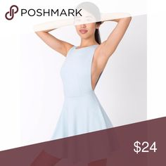 "American Apparel Women's Blue Ponte Skater Dress American Apparel Ponte Skater Dress Ice Baby Blue Women's Waist - 12.5"" Size Large L New with tags Marks as shown in images  PEAA4-2 American Apparel Dresses Mini"