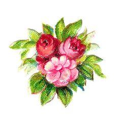 Digital Vintage 3 Pink Rose Botanical Scrapbooking Bouquet Clip Art