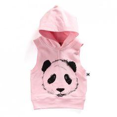 Minti Baby Sleeveless Hood Painted Panda - Ballet - Minti - Shop by Brand - Ragamuffins New Zealand