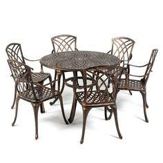 Metal Garden Furniture Set Patio Antique Dining Table 6 Chairs Cast Aluminium
