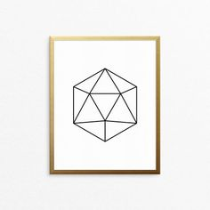 Home decor - geometric poster. Printable art with black polygon. Design by Creocrux.