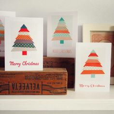 Pack of 5 Modern Christmas cards Washi tape tree by whatkatiedoes, - dead easy DIY card trick to copy. Modern Christmas Cards, Holiday Cards, Christmas Diy, Merry Christmas, Washi Tape Cards, Washi Tape Diy, Masking Tape, Tape Crafts, Christmas Crafts
