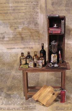 Dollhouse Miniatures, Liquor Cabinet, Workshop, Storage, Furniture, Home Decor, Little Cottages, Purse Storage, Atelier