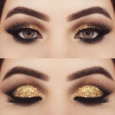 Shimmery gold smokey cat eye makeup
