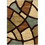 Avenue Wavy Shapes Green 6 ft. 7 in. x 9 ft. 3 in. Contemporary Area Rug