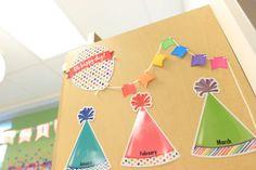 Birthday banner using Astrobrights! - Astrobrights Brightest Teacher Classroom Makeover Reveal