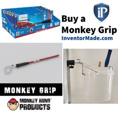 Meet the Monkey Grip! It quickly & easily affixes through the D-rung of your extension ladders and features 3 interchangeable attachments to conveniently hold your tools, sprayers, bags, paint cans, & anything else you need while working on a ladder. The Monkey Grip makes extension ladder jobs easier, faster, safer & more profitable. It's great for trade pros, DIYers & anyone who works on an extension ladder. The Monkey Grip is available at www.InventorMade.com & many other great retailers. Buy A Monkey, French Tip Dip, Leash Aggression, Ladder Accessories, The Inventors, Ladders, Paint Cans, How To Stay Motivated, Audio Books