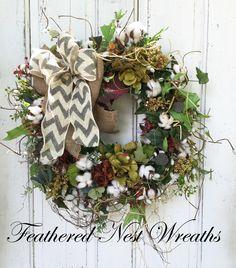 Summer Door Wreath, Year Round Wreath, Cotton Boll Decor, Fall Decor, Door Decor, Porch Wreath, Farmhouse Decor, Handmade, Everyday Wreath by FeatheredNestWreaths on Etsy https://www.etsy.com/listing/464530949/summer-door-wreath-year-round-wreath
