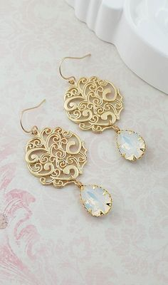 Gold Filigree with White Opal Swarovski Crystal Earrings from EarringsNation Vintage Style Earrings