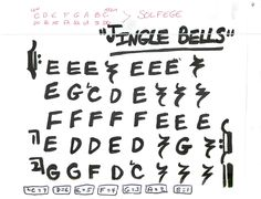 Jingle Bells, easy pre-staff music with letters for