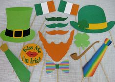 Celebrate St. Patricks Day with these 15 fun photo booth props! These are ready to go. Just print, cut and glue. When you purchase this listing, you get BOTH files listed below... 1)Full Color file: Already colored. Simply print, cut out, add sticks, and you are ready to go.