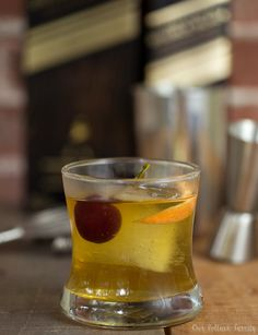 After discovering my favorite flavors in Whiskey, I created a New-Fashioned Cocktail with Johnny Walker Double Black, bitters, grapefruit, and a cherry.
