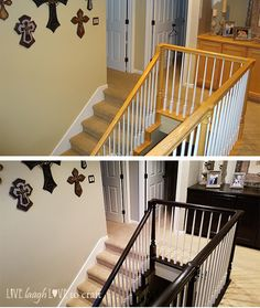 Staircase Makeover – What to Stain; What to Paint – Live Laugh Love to Craft Painted Stair Railings, Stair Banister, Painted Stairs, Staircase Remodel, Staircase Makeover, Home Renovation, Home Remodeling, Stained Staircase, Stair Decor