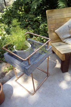 Blue Stained Pallet Side Table with Copper Piping