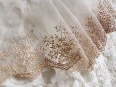 rose gold lace trim, gold embroidered mesh lace trim, vintage style lace in gold, gold scalloped lace trim by Lacefabricstore on Etsy https://www.etsy.com/uk/listing/457880014/rose-gold-lace-trim-gold-embroidered