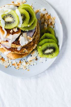 Fluffy Gluten-Free Pancakes with Coconut Butter & Kiwi