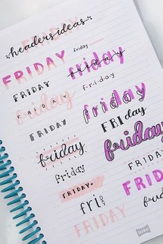 Lettering Fonts Discover 30 Bullet Journal Font Ideas you must see! Looking for a way to spice up your Bullet Journal? Learn everything about bullet journal fonts and how to improve your hand writing. Bullet Journal School, Bullet Journal Headers, Bullet Journal Banner, Bullet Journal Notebook, Bullet Journal Ideas Pages, Bullet Journal Inspiration, Bullet Journal Writing Styles, Bullet Journal Numbers, Bullet Journal Ideas Handwriting